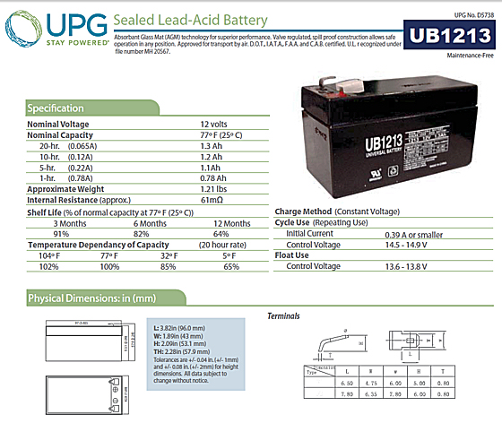 UPG 12V 1.3Ah AGM Battery